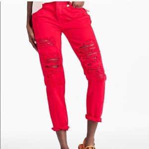 Lucky brand ripped red boyfriend jeans!